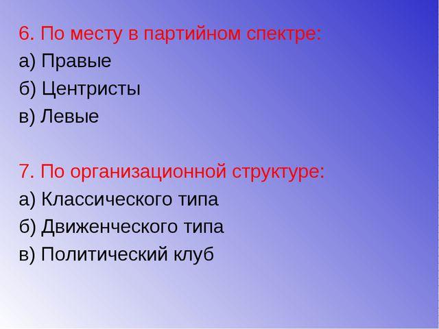 6. По месту в партийном спектре: а) Правые б) Центристы в) Левые 7. По органи...