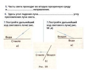 5. Часть света проходит во вторую прозрачную среду и……………………………направление. 6