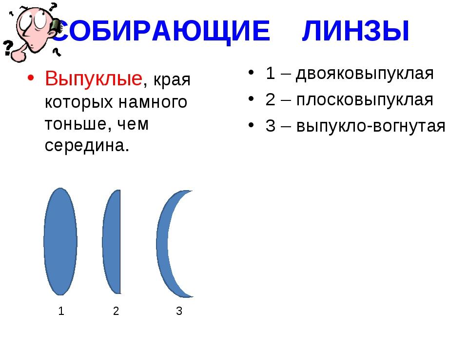 СОБИРАЮЩИЕ ЛИНЗЫ Выпуклые, края которых намного тоньше, чем середина. 1 – дво...