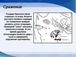 Рыцари бросили свою «свинью» в атаку. Фланги русского боевого порядка не позв