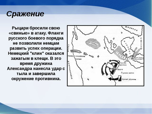 Рыцари бросили свою «свинью» в атаку. Фланги русского боевого порядка не позв...