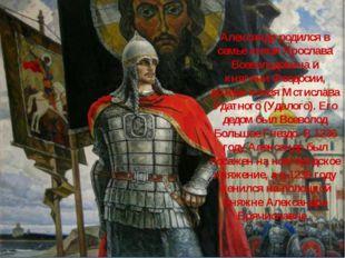 Александр родился в семье князя Ярослава Всеволодовича и княгини Феодосии, до