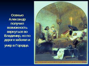Осенью Александр получил возможность вернуться во Владимир, но по дороге забо