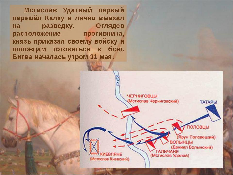 Мстислав Удатный первый перешёл Калку и лично выехал на разведку. Оглядев ра...