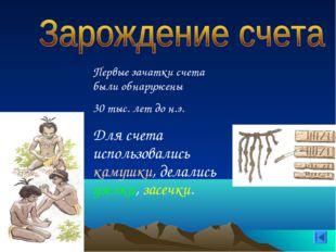 Первые зачатки счета были обнаружены 30 тыс. лет до н.э. Для счета использов
