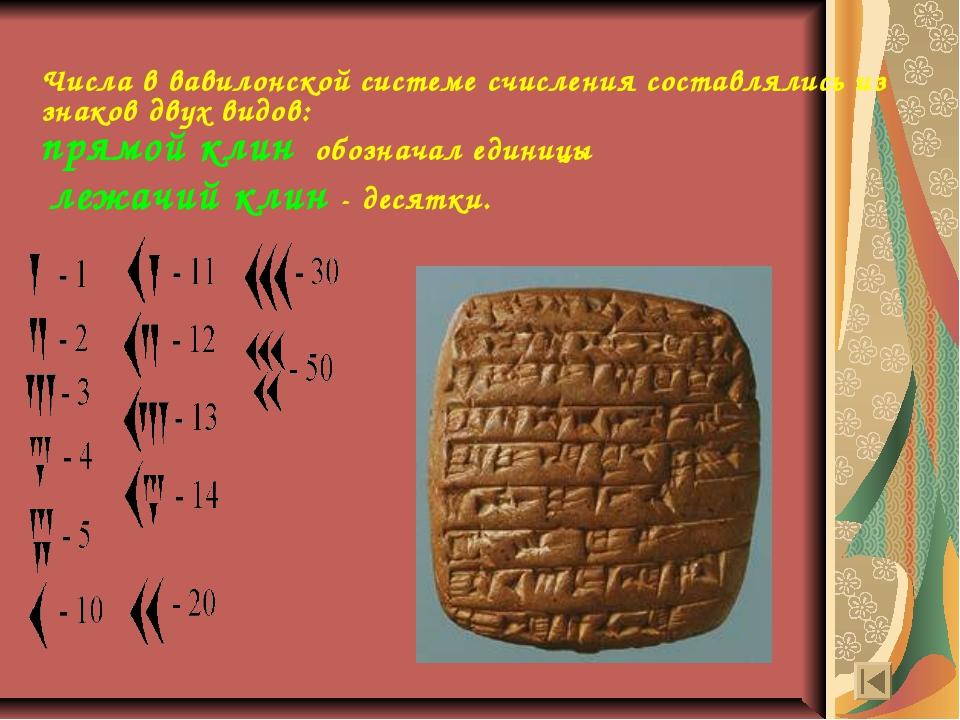 Числа в вавилонской системе счисления составлялись из знаков двух видов: прям...