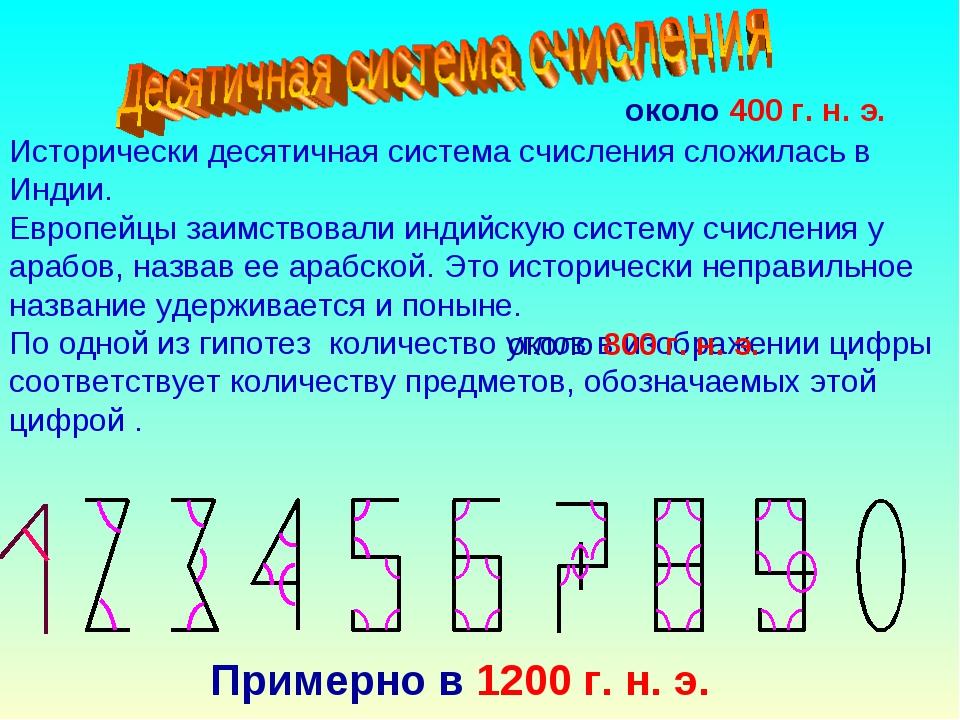 Исторически десятичная система счисления сложилась в Индии. Европейцы заимств...