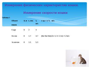 Измерение физических характеристик кошки.  Измерение скорости кошки Табл