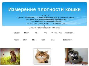 Измерение плотности кошки ρ = m / V где m к – масса кошки; V – объем вытеснен