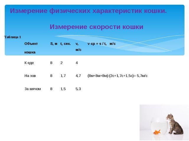 Измерение физических характеристик кошки.  Измерение скорости кошки Табл...