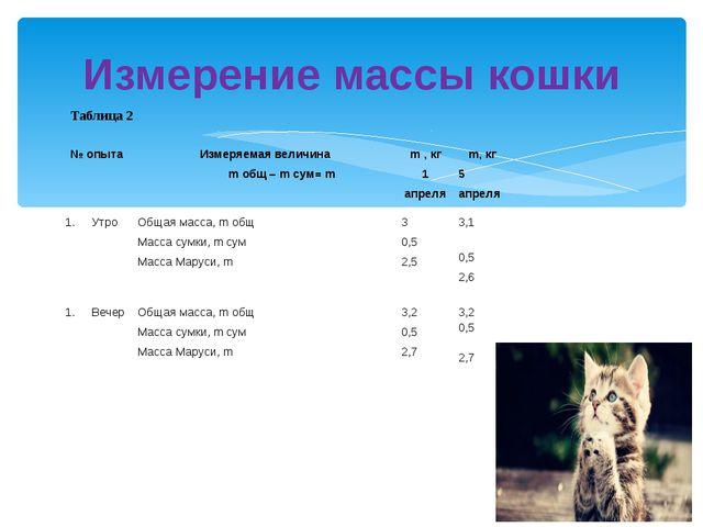 Измерение массы кошки Таблица 2 № опыта Измеряемая величина mобщ–mсум=m  m,к...