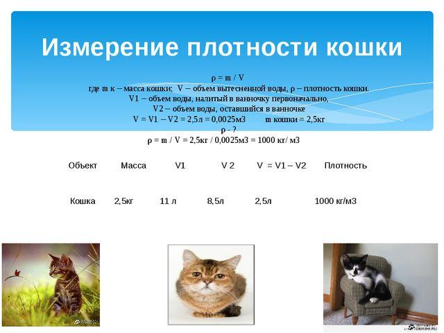 Измерение плотности кошки ρ = m / V где m к – масса кошки; V – объем вытеснен...