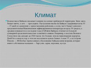 Климат Водная масса Байкала оказывает влияние на климат прибрежной территории