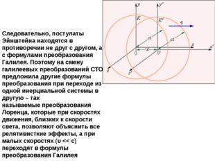 Следовательно, постулаты Эйнштейна находятся в противоречии не друг с другом