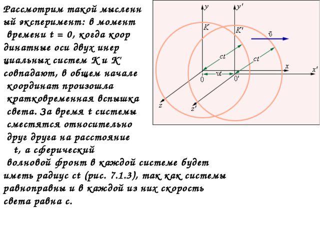 Рассмотрим такой мысленн ый эксперимент: в момент времени t=0, когда коор...