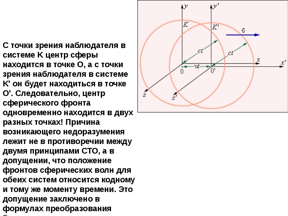 С точки зрения наблюдателя в системе K центр сферы находится в точке O, а с...