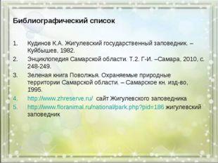 Библиографический список Кудинов К.А. Жигулевский государственный заповедник.