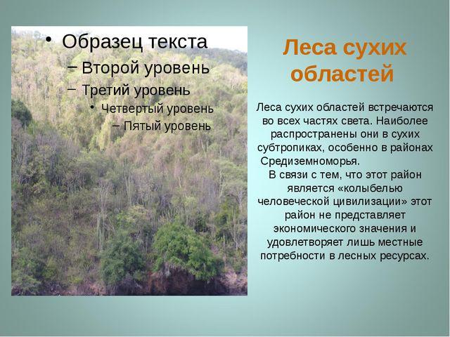 Леса сухих областей Леса сухих областей встречаются во всех частях света. Наи...