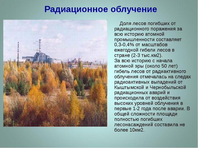Радиационное облучение Доля лесов погибших от радиационного поражения за всю...