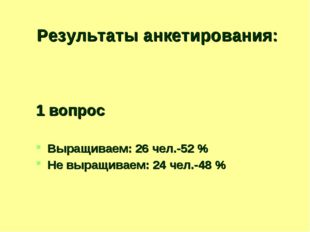 Результаты анкетирования: 1 вопрос Выращиваем: 26 чел.-52 % Не выращиваем: 24