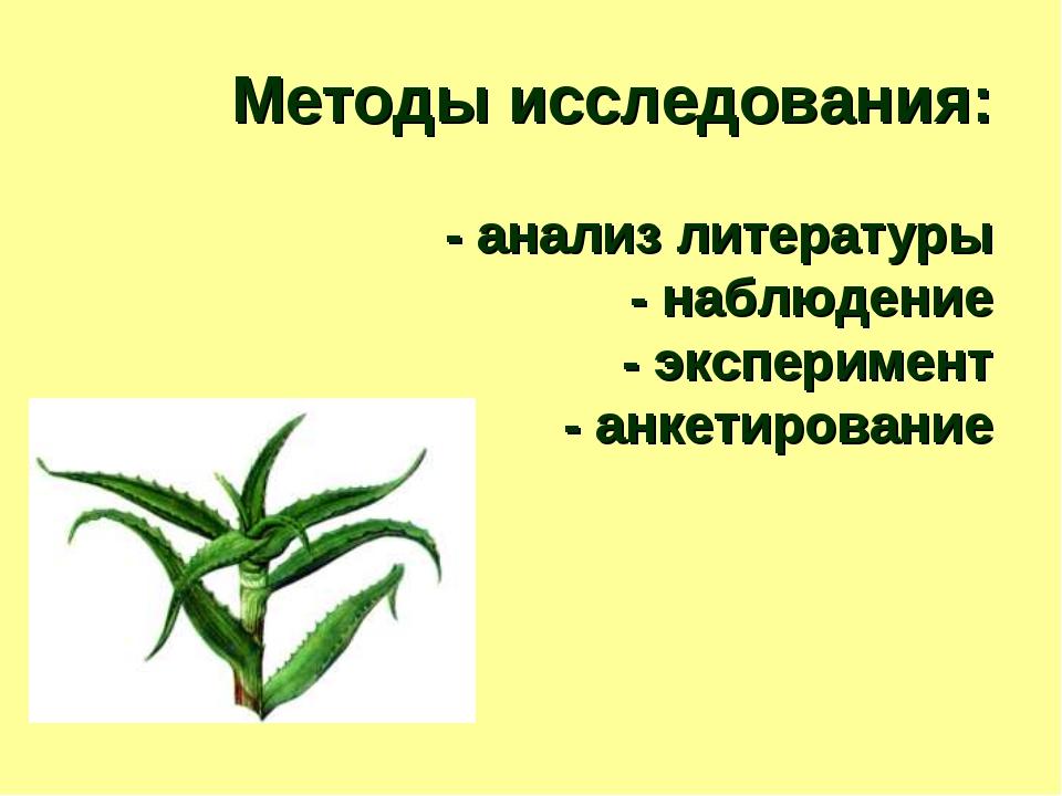 Методы исследования: - анализ литературы - наблюдение - эксперимент - анкетир...