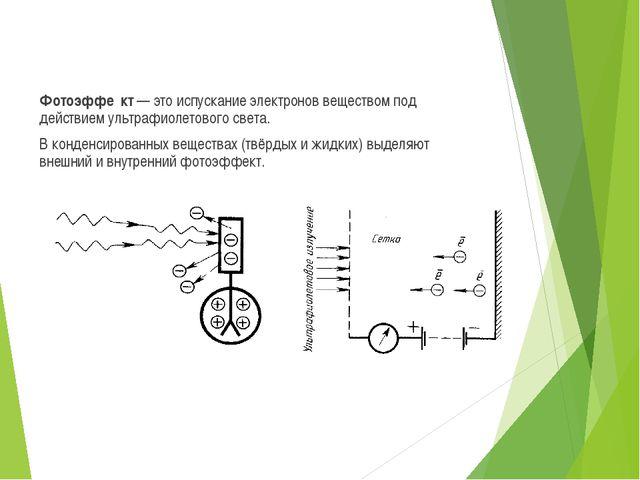 Фотоэффе́кт — это испускание электронов веществом под действием ультрафиолето...
