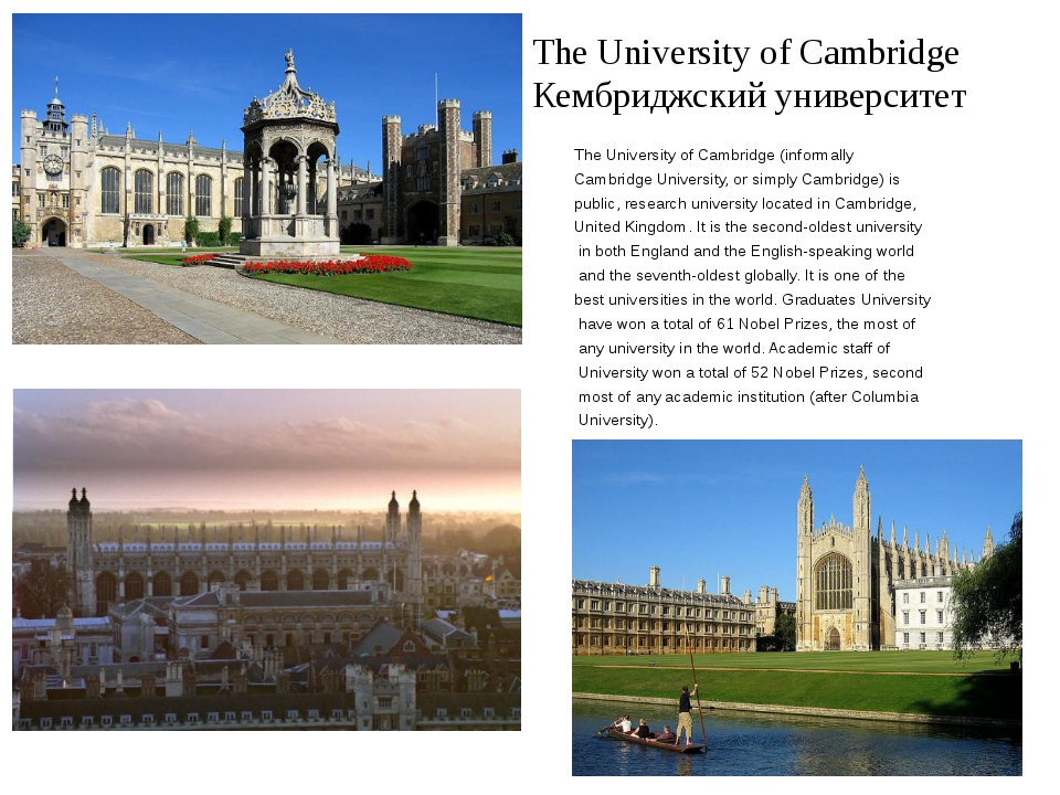 The University of Cambridge Кембриджский университет The University of Cambri...
