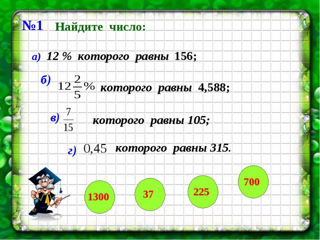 №1 Найдите число: а) 12 % которого равны 156; б) которого равны 4,588; в) г)...