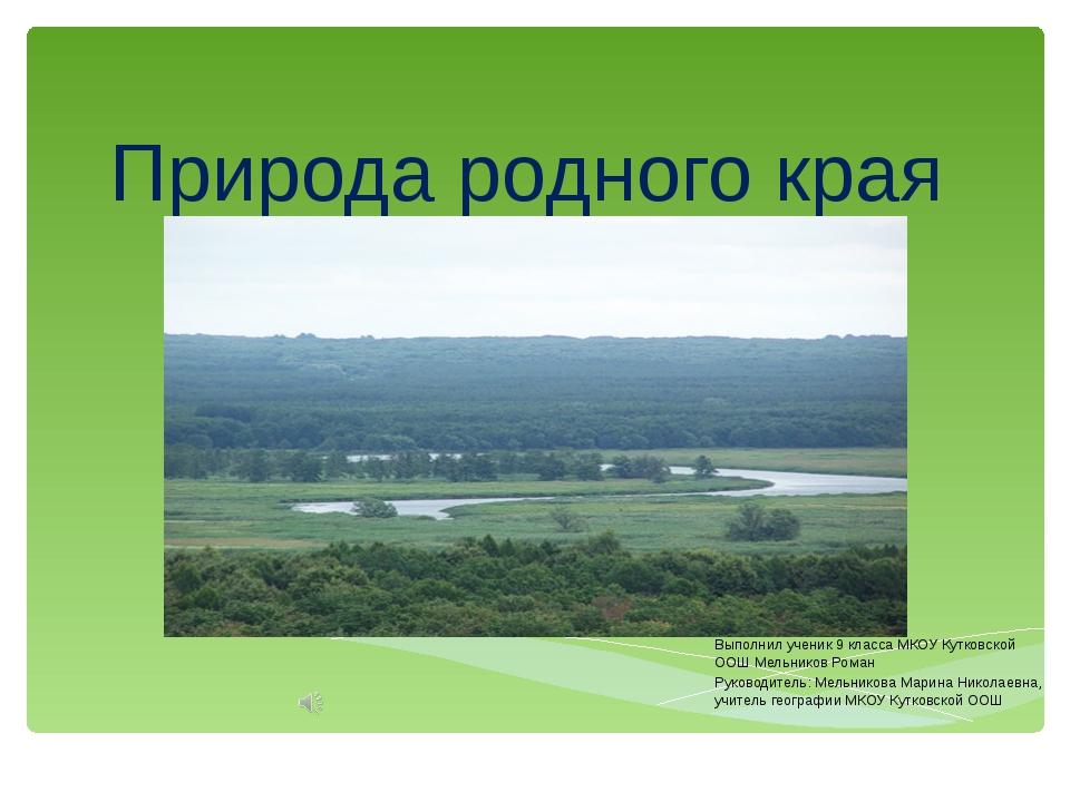 Природа родного края Выполнил ученик 9 класса МКОУ Кутковской ООШ Мельников Р...