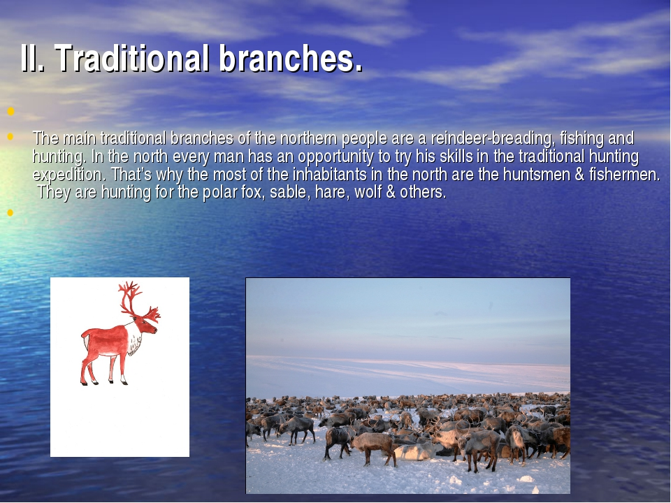 II. Traditional branches. The main traditional branches of the northern peopl...