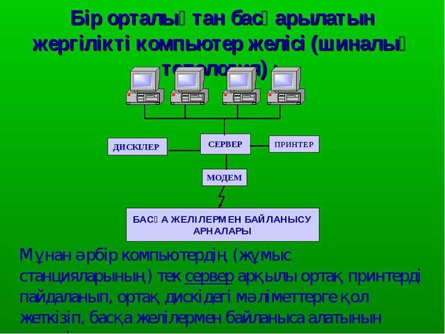 Бір орталықтан басқарылатын жергілікті компьютер желісі (шиналық топология) :...