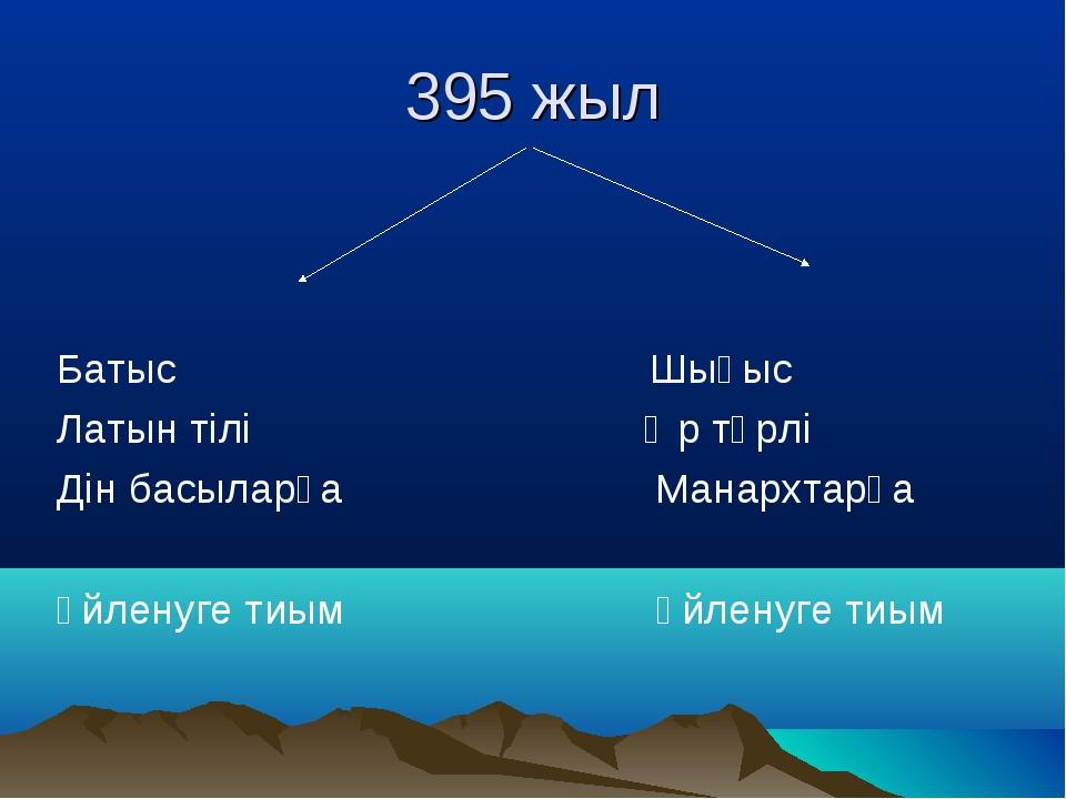 395 жыл Батыс Шығыс Латын тілі Әр түрлі Дін басыларға Манархтарға үйленуге ти...
