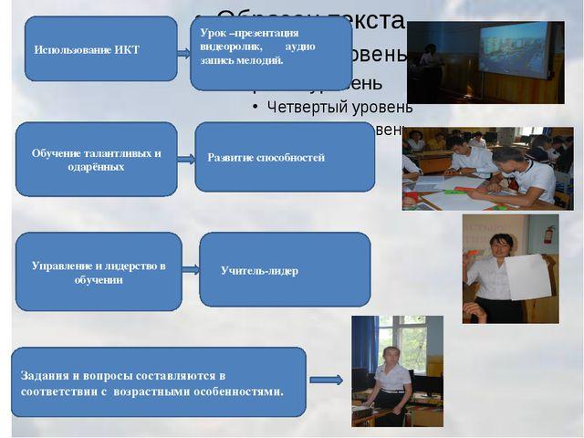 Использование ИКТ Урок –презентация видеоролик, аудио запись мелодий. Обучен...