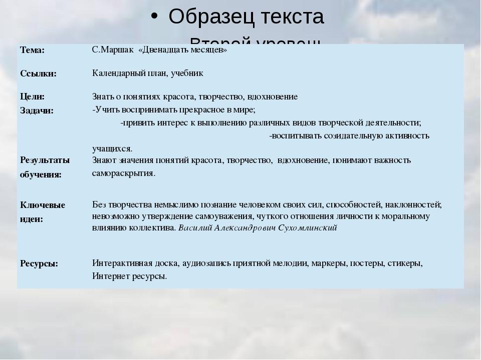 Тема: С.Маршак«Двенадцать месяцев» Ссылки: Календарный план, учебник Цели: З...