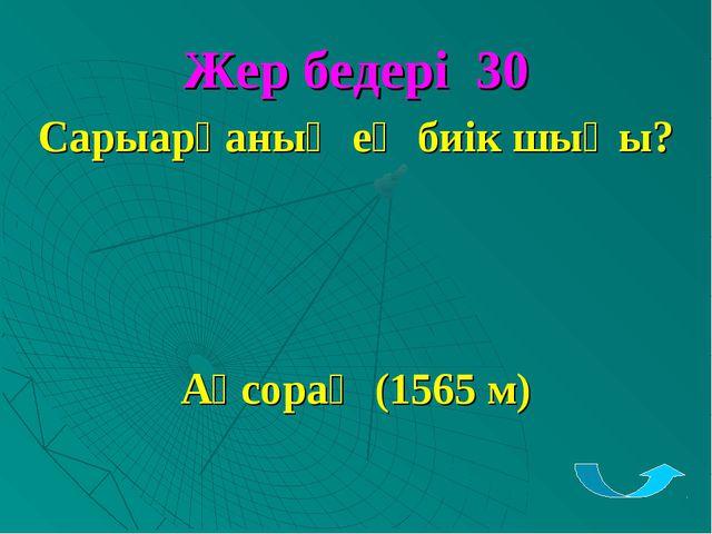 Жер бедері 30 Сарыарқаның ең биік шыңы? Ақсораң (1565 м)