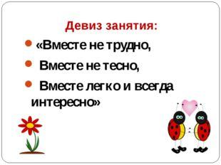 Девиз занятия: «Вместе не трудно, Вместе не тесно, Вместе легко и всегда инт