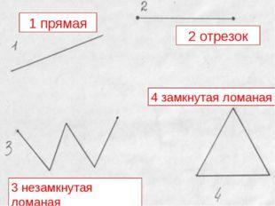1 прямая 2 отрезок 3 незамкнутая ломаная 4 замкнутая ломаная