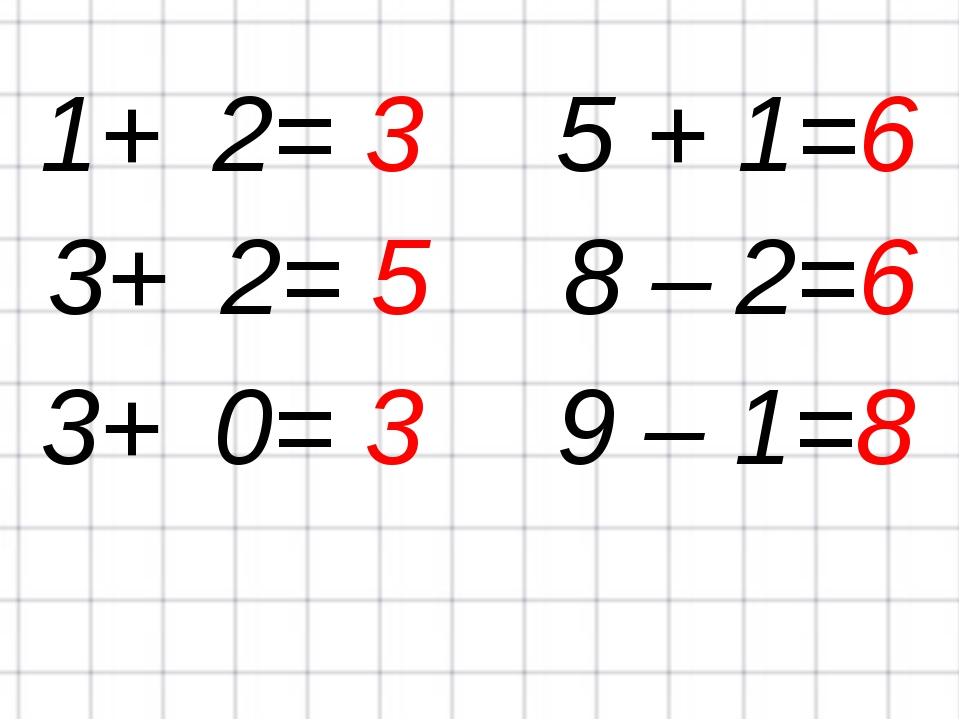1+ 2=35 + 1=6 3+ 2=58 – 2=6 3+ 0=39 – 1=8