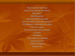Приглашение визитера Дискуссия группы экспертов Интервью Инсценировка Проигры