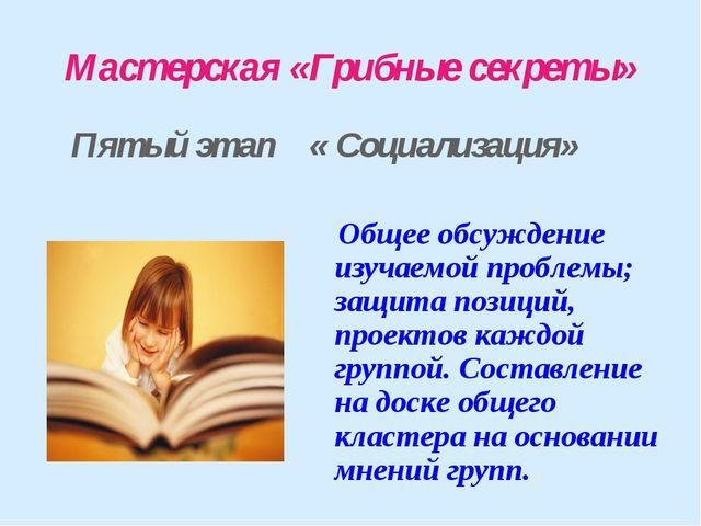 Мастерская «Грибные секреты» Пятый этап « Социализация» Общее обсуждение изуч...