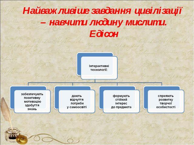 Найважливіше завдання цивілізації – навчити людину мислити. Едісон