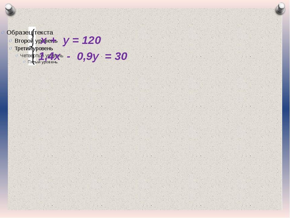 х + у = 120 1,4х - 0,9у = 30 Журнал «Математика» №17/2011