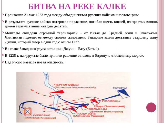 БИТВА НА РЕКЕ КАЛКЕ Произошла 31 мая 1223 года между объединенным русским вой...