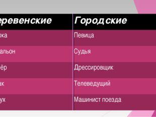 ДеревенскиеГородские ДояркаПевица ПочтальонСудья Шофёр Дрессировщик Рыбак
