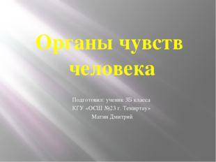 Подготовил: ученик 3Б класса КГУ «ОСШ №23 г. Темиртау» Матин Дмитрий Органы ч