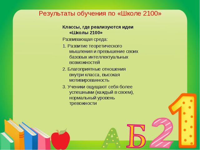 Результаты обучения по «Школе 2100» Классы, где реализуются идеи «Школы 2100»...