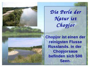 Die Perle der Natur ist Chopjor Chopjor ist einen der reinigsten Flusse Russl