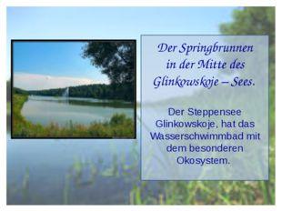 Der Springbrunnen in der Mitte des Glinkowskoje – Sees. Der Steppensee Glinko