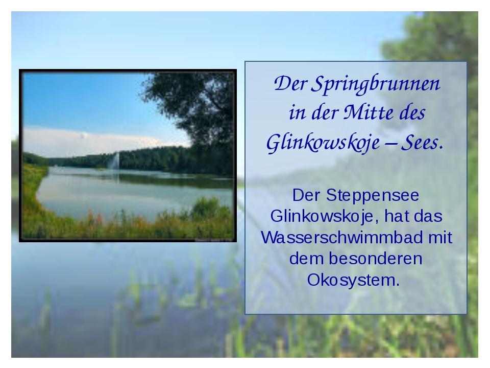 Der Springbrunnen in der Mitte des Glinkowskoje – Sees. Der Steppensee Glinko...