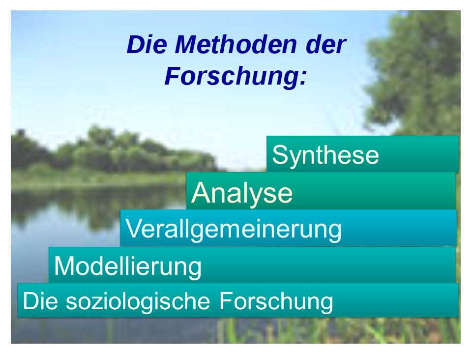 Die Methoden der Forschung: